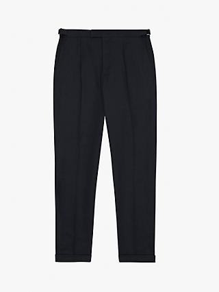 Reiss Checker Linen Blend Trousers
