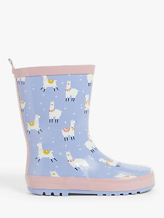 John Lewis & Partners Children's Llama Wellington Boots, Blue