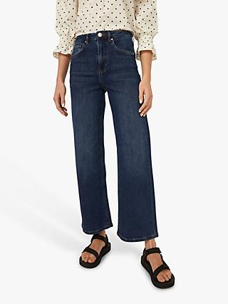 Warehouse Wide Leg Ankle Grazer Jeans, Dark Wash Denim