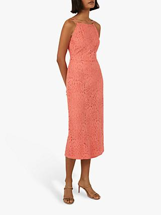 Warehouse High Neck Lace Midi Dress, Coral