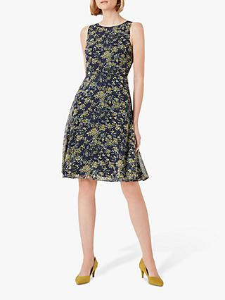 Hobbs Ava Floral Mini Dress, Navy/Multi