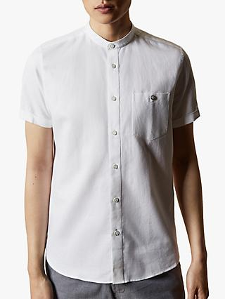 Ted Baker Glate Linen Cotton Grandad Collar Short Sleeve Shirt