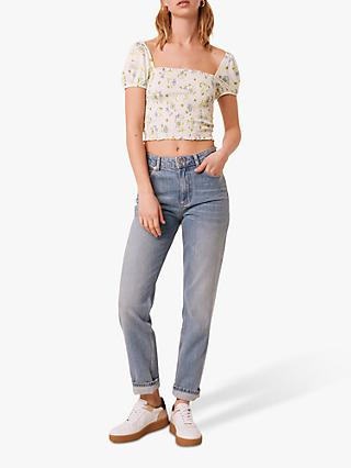 French Connection Adeona Lawn Floral Print Top, Summer White/Multi