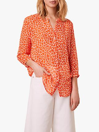 French Connection Etta Kiss Print Shirt, Neon Orange