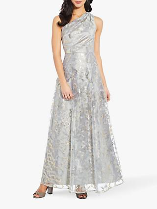 Adrianna Papell One Shoulder Embroidered Abstract Print Gown, Ice Blue/Gold