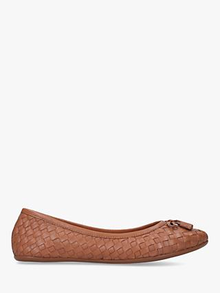 Carvela Comfort Luggage Woven Ballerina Pumps, Brown