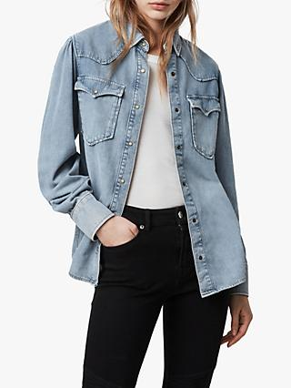 AllSaints Ava Denim Shirt, Light Indigo Blue