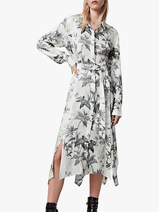 AllSaints Tilly Floral Print Midi Dress, Chalk White