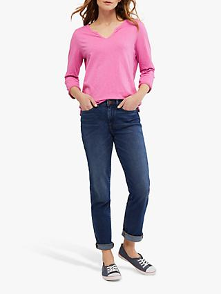 White Stuff Daisy Three Quarter Length Sleeve Cotton T-Shirt, Hot Pink