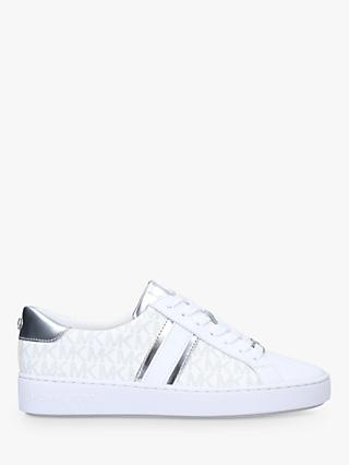 MICHAEL Michael Kors Irving Leather Striped Trainers, White