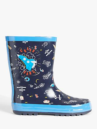 John Lewis & Partners Children's Space Wellington Boots, Navy
