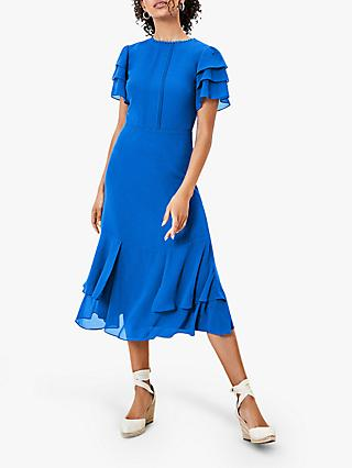 Oasis Tiered Sleeve Pintuck Midi Dress, Blue