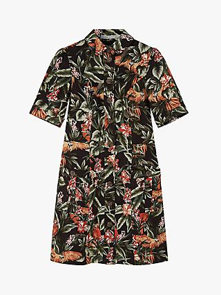 Oasis Puff Shirt Floral Midi Dress, Multi