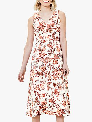 Oasis Floral V-Neck Sleeveless Midi Dress, Red/Multi