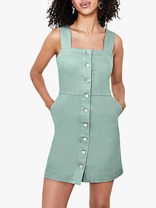 Oasis Sleeveless Button Front Mini Dress, Pale Green