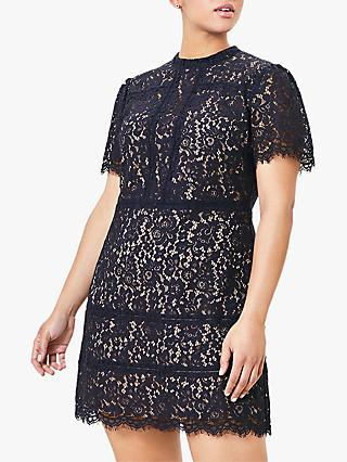 Oasis Curve Lace Shift Mini Dress, Navy