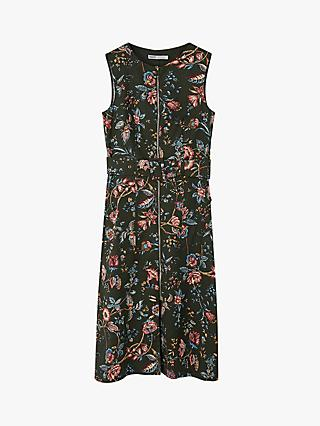 Oasis Farah Zip Floral Midi Dress, Multi