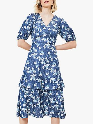 Oasis Floral Print Wrap Midi Dress, Blue/Multi