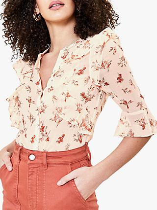 Oasis Ditsy Floral Print Frill Blouse, Natural/Multi
