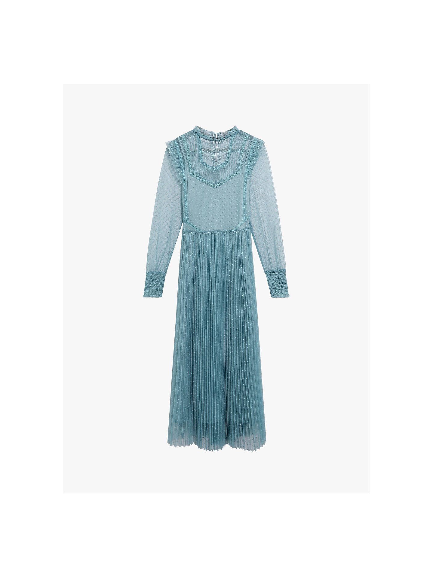 Buy Oasis Mesh Tulle Dress, Pale Green, M Online at johnlewis.com