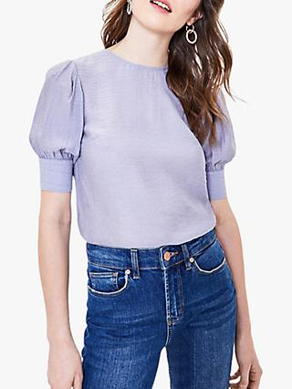 Oasis Button Back Top, Mid Blue
