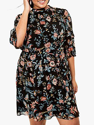 Oasis Curve Floral Print Dress, Black/Multi