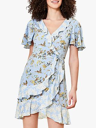 Oasis Bird Print Tea Dress, Blue/Multi