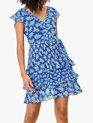 Oasis Barcelona Floral Mini Dress, Blue