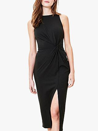Oasis Ribbed Ruched Midi Dress, Black