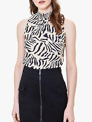 Oasis Tiger Print Shell Top, Black/White