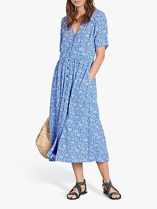 hush Cecil Floral Print Midi Dress, Blue