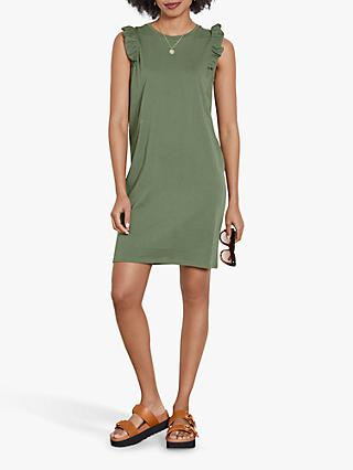 hush Frill Shoulder Sleeveless Mini Dress, Khaki