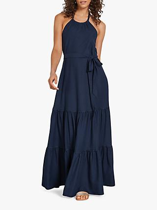 hush Reena Halterneck Maxi Dress, Midnight Blue