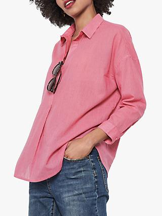 hush Lofty Stripe Cotton Shirt, Pink