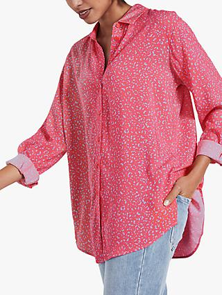 hush Drop Sleeve Leopard Print Shirt, Coral/Blue