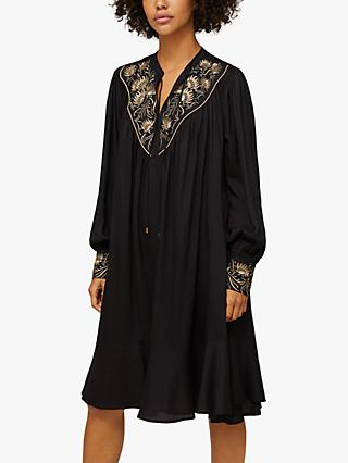 AND/OR Eloise Embroidered Yoke Dress, Black