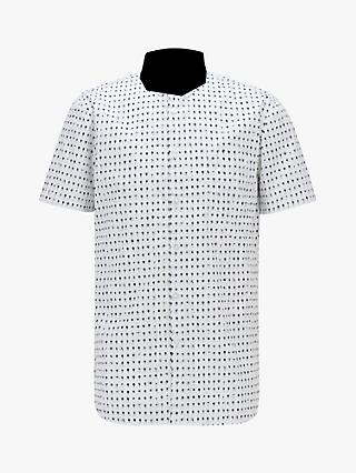 BOSS Magneton Slim Fit Photo Print Poplin Shirt, White