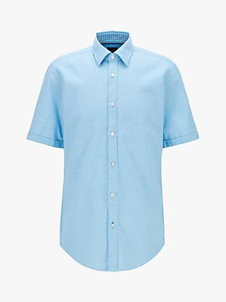 BOSS Luka Short Sleeve Cotton Linen Shirt, Turquoise/Aqua