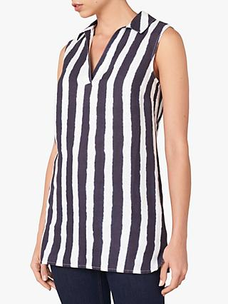 Jaeger Tie Dye Stripe Tunic, Dark Blue/White