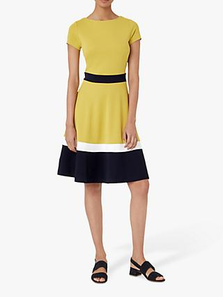 Hobbs Seasalter Colour Block Flared Dress, Yellow/Navy