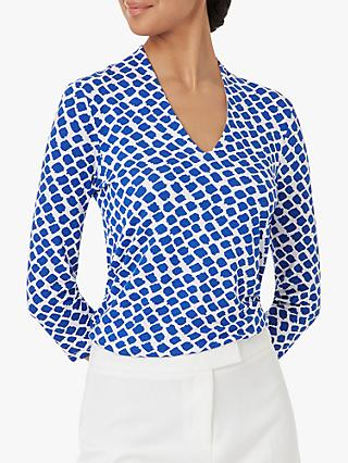 Hobbs Aimee Printed Top, Blue/Ivory
