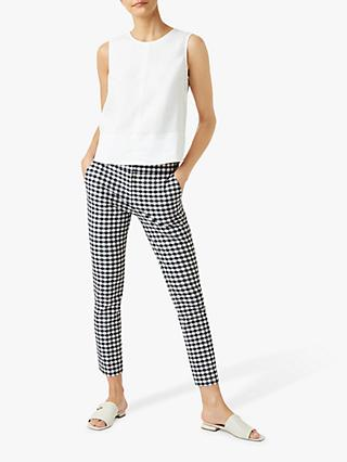 Hobbs Annie Gingham Trousers. Navy/White