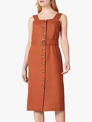 Jaeger Button Linen Midi Dress, Brown