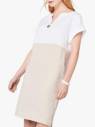 Jaeger Cross Dye Colour Block Linen Shift Dress, Neutral/Plain