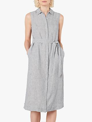 Jaeger Fine Stripe Belted Linen Shirt Dress, Dark Blue/Grey