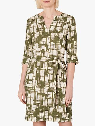 Jaeger Abstract Linen Mini Dress, Khaki
