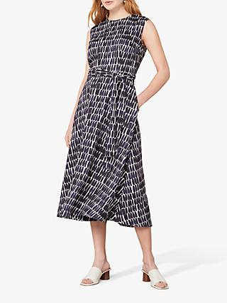 Jaeger Smudge Linen Abstract Midi Dress, Dark Blue