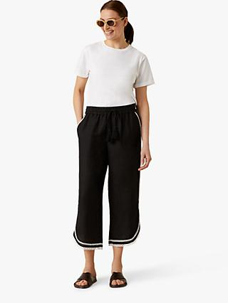 Jigsaw Contrast Broderie Trousers, Black