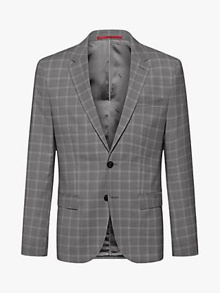 HUGO by Hugo Boss Harvey202 Windowpane Check Wool Slim Fit Blazer, Open Grey