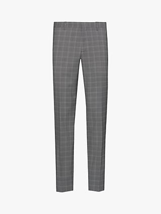 HUGO by Hugo Boss Getlin Glencheck Virgin Wool Slim Fit Suit Trousers, Open Grey